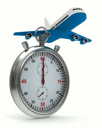 Stopwatch and airplane on white background  Isolated 3D image photo