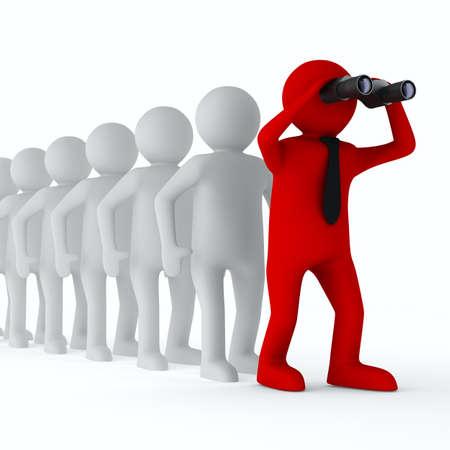 Conceptueel beeld van leiderschap Geà ¯ soleerde 3D op wit Stockfoto - 14066914