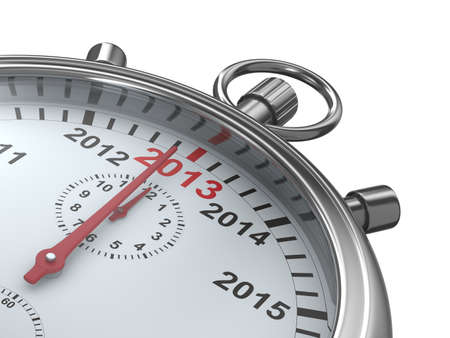 year calendar on stopwatch  Isolated 3D image