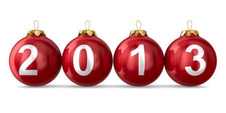 Christmas decoration on white background  2013 year  Isolated 3D image photo