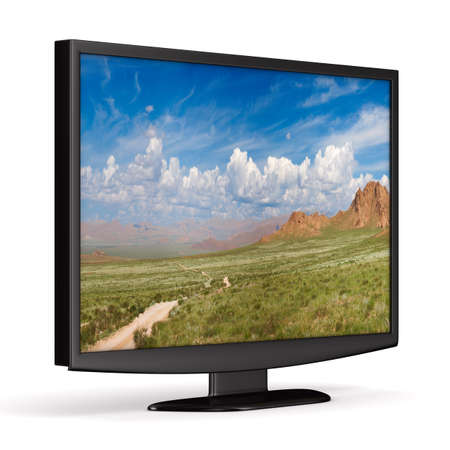 TV on white background. Isolated 3D image photo