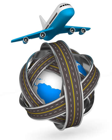 Roads round globe and airplane on white background. Isolated 3D image photo