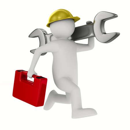 Man met sleutel op een witte achtergrond. Geà ¯ soleerde 3D beeld Stockfoto - 15315043