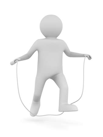 skipping rope: man jumps on skipping rope. Isolated 3D image