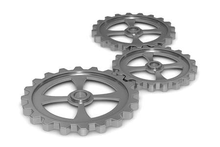 component parts: Three gears on white background. Isolated 3D image