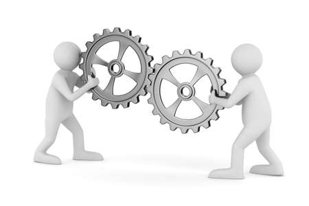 control tools: two man with gears. Isolated 3D image