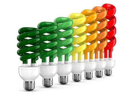bombillo ahorrador: bombillas de bajo consumo en el fondo blanco. Aislados imagen en 3D Foto de archivo