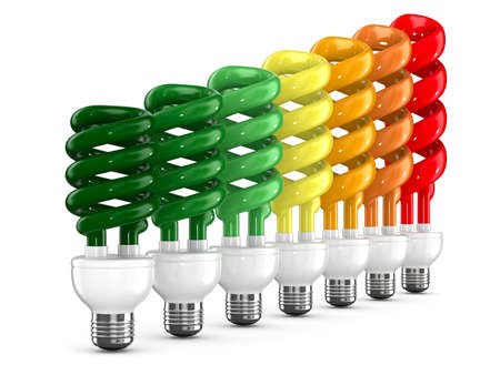 recycling symbols: energy saving bulbs on white background. Isolated 3D image