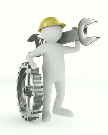 Man with wrench on white background. Isolated 3D image photo