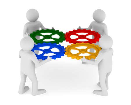 Vier man met kleur versnelling op witte achtergrond. Geà ¯ soleerde 3D beeld Stockfoto - 16403129