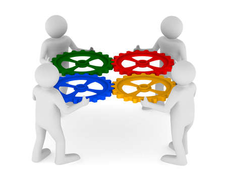 four man with color gear on white background. Isolated 3D image Standard-Bild