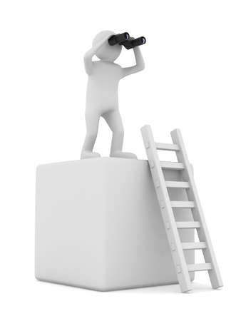 observation: man on box and staircase  Isolated 3D image Stock Photo