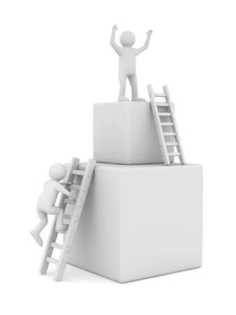 clambering: man on box and staircase  Isolated 3D image Stock Photo