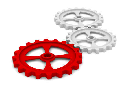 co action: Three gears on white background  Isolated 3D image