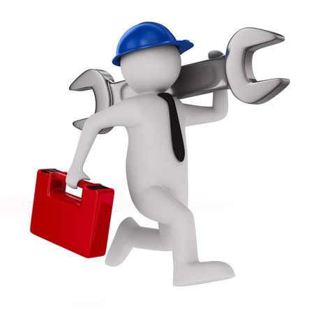 Mann mit Schraubenschlüssel auf weißem Hintergrund 3D-Bild Standard-Bild - 16403138