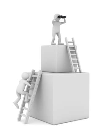 clambering: man on box and staircase. Isolated 3D image