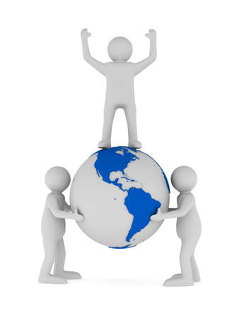 people and globe on white background. Isolated 3D image  photo