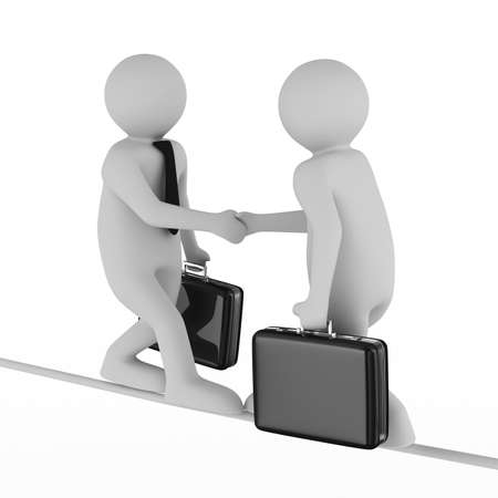 business relationship: Handshake. Meeting two businessmen. Isolated 3D image