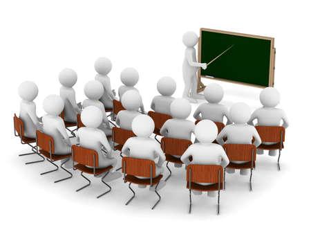 capacitacion: profesor con el puntero en la pizarra. Aislados imagen en 3D