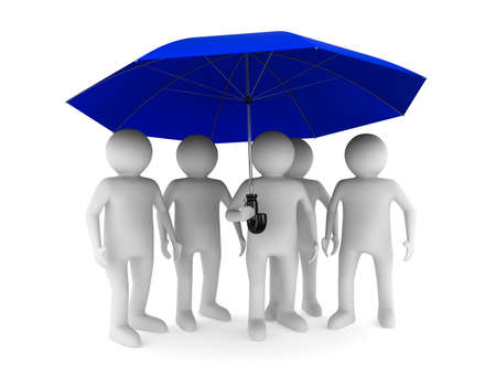 3d image: man with blue umbrella on white background. Isolated 3D image Stock Photo