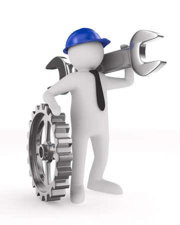 sprocket: L'uomo con la chiave su sfondo bianco. Isolata 3D