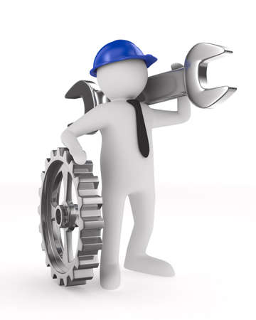 maintenance engineer: Man with wrench on white background. Isolated 3D image