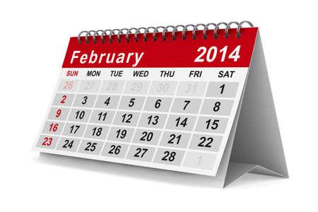 2014 Jahre Kalender. Februar. Isolierte 3D-Bild Standard-Bild - 17173704