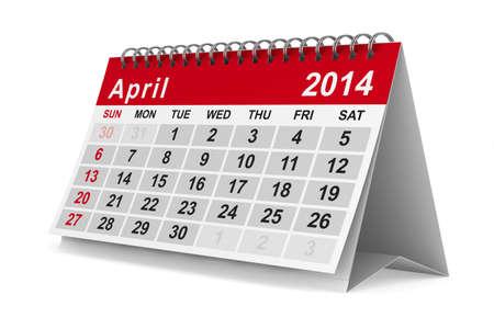 2014 jaar kalender. April. Geà ¯ soleerde 3D beeld Stockfoto - 17173702