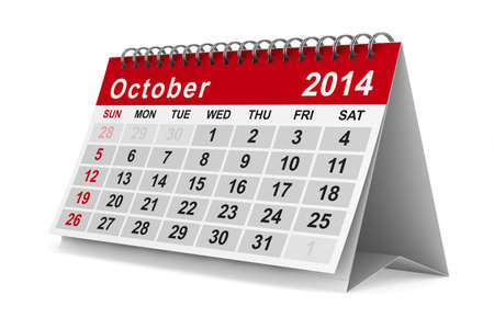 2014 year calendar. October. Isolated 3D image photo