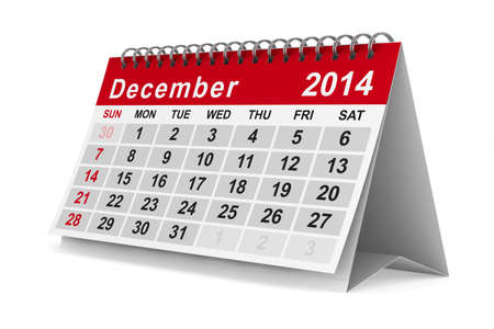 2014 year calendar. December. Isolated 3D image photo