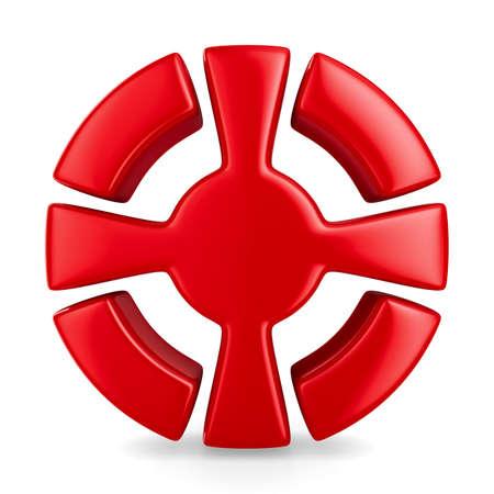 croix rouge: croix rouge en cercle sur fond blanc. Isolated 3D image Banque d'images