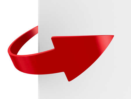moving forward: red arrow on white background. Isolated 3D image