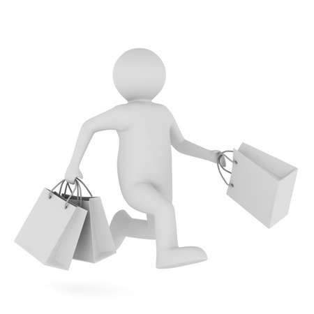 Man with shoping bag on white. Isolated 3D image photo