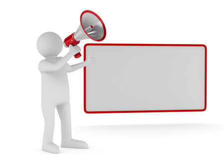 orator: orator speaks in megaphone. Isolated 3D image Stock Photo