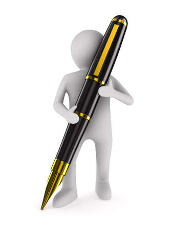 man with fountain pen on white background. Isolated 3D image photo
