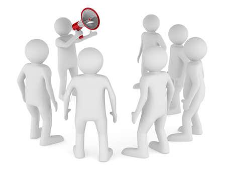 expostulate: orator speaks in megaphone. Isolated 3D image Stock Photo