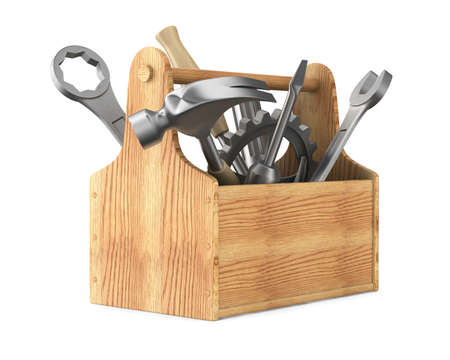 Wooden toolbox with tools. Isolated 3D image photo