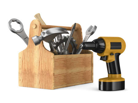 toolbox: Wooden toolbox with tools. Isolated 3D image