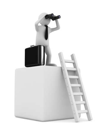 man on box and staircase. Isolated 3D image Stock Photo - 17309051