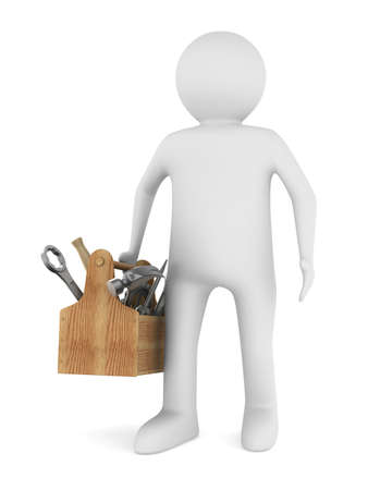 Man with wooden toolbox. Isolated 3D image 스톡 콘텐츠