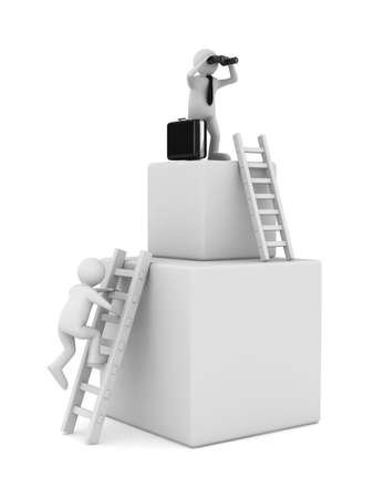 man on box and staircase. Isolated 3D image photo