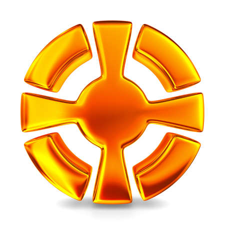 plus symbol: cross in circle on white background. Isolated 3D image
