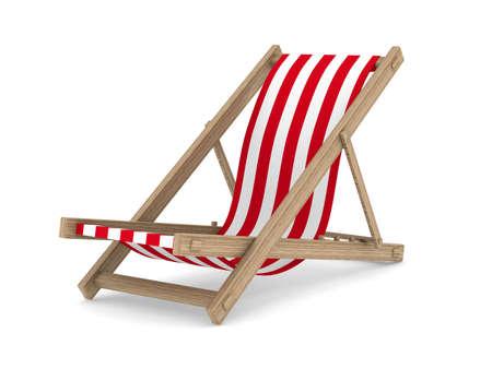strandstoel: Ligstoel op een witte achtergrond. Geà ¯ soleerde 3D beeld