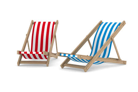 idling: Two deckchair on white background. Isolated 3D image