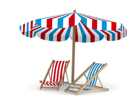 Two deckchair and parasol on white background. Isolated 3D image photo