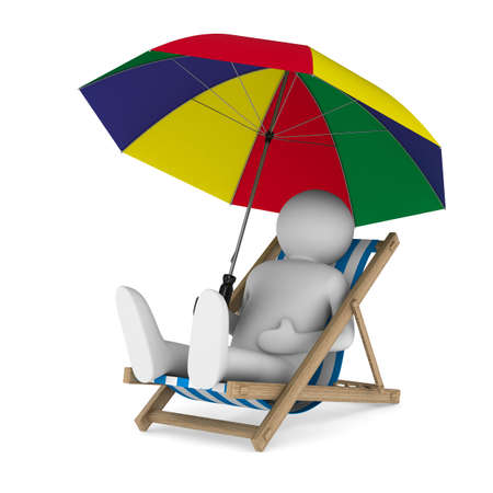 idling: Deckchair and parasol on white background. Isolated 3D image