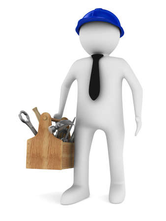 fix gear: Man with wooden toolbox. Isolated 3D image Stock Photo