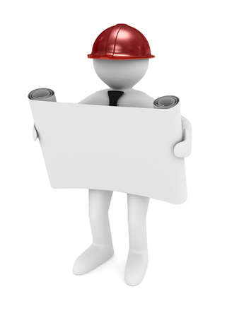 estate planning: engineer in helmet on white background. Isolated 3D image Stock Photo
