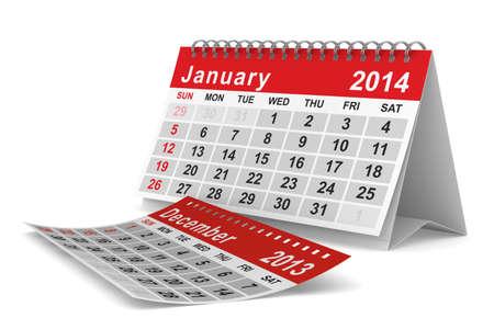 2014 year calendar. January. Isolated 3D image