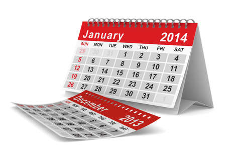 2014 year calendar. January. Isolated 3D image  Stock Photo